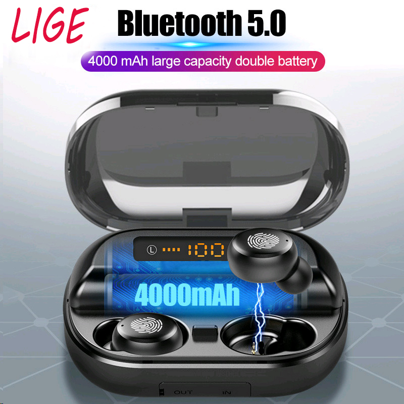 LIGE TWS Bluetooth Earphones Touch control Wireless Earphone IPX7 Waterproof Headphones Sport Handsfree With <font><b>4000mAh</b></font> <font><b>Power</b></font> <font><b>Bank</b></font> image