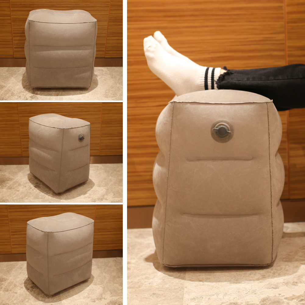 Gas Nozzle 3 Layers Inflatable Travel Foot Rest Pillow 412g Airplane Train Car Footrest Cushion With Storage Bag & Dust Cover