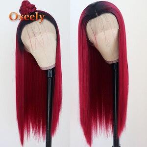 Oxeely długa prosta syntetyczna koronka przodu peruki żaroodporne 180 gęstość Ombre czerwona peruka peruka z naturalnych włosów dla czarnych kobiet