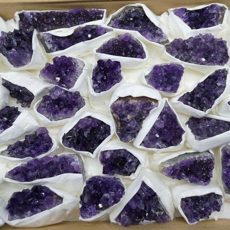 1X Natural Amethyst Geode Crystal Quartz Amethyst Cluster Specimen AAAA+