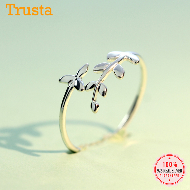 Trusta 2020 New 100% 925 Sterling Silver Fashion Women Cute Branch Rings Size 5 6 7 Wonderful Gift For Girls Teen Lady  DS555
