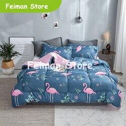 2019 Novo cachecol de inverno pássaro engrossar acolchoado colchas de cama casa edredon consolador impresso mantenha inverno quente com enchimento