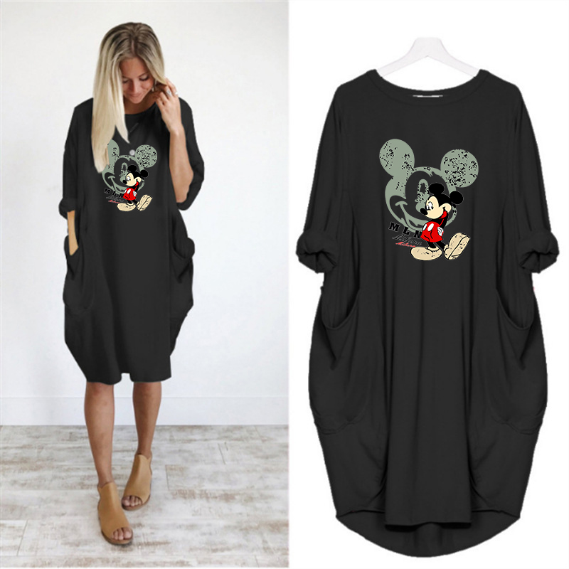 2019 Dress Women Printing Mickey Pocket Loose Dresses Vintage Fall Maxi Clothes Woman Party Casual Dresses Women Plus Size Dress