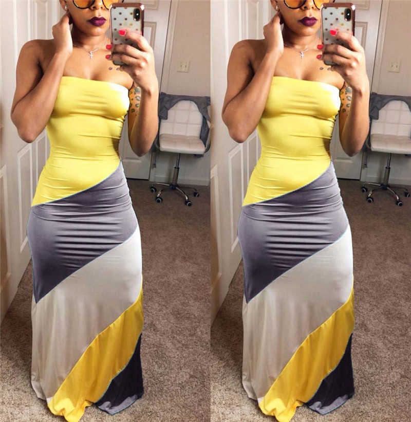 Women Long Dress Color Matching Design Strapless Summer Slim Dress Fashion Ladies Comfortable Dress for Streetwear