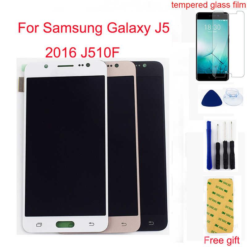 لسامسونج غالاكسي J5 2016 J510F LCD J510G J510Y J510M J510 J510FN شاشة الكريستال السائل محول الأرقام بشاشة تعمل بلمس الاستشعار الجمعية الإطار
