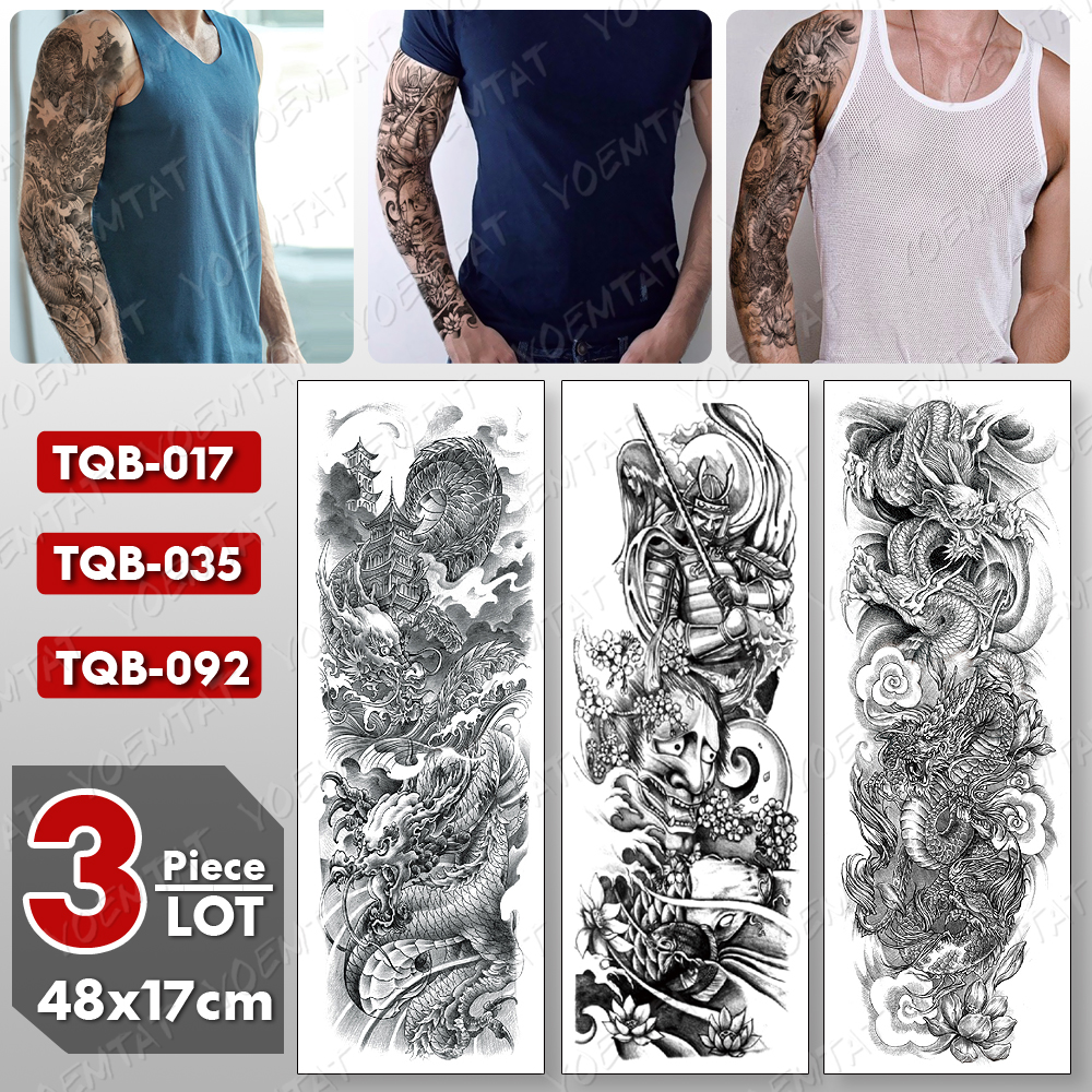 3 Pcs/lot Large Arm Sleeve Tattoo Dragon Waterproof Temporary Tatto Sticker Samurai Prajna Body Art Full Fake Tatoo Women Men
