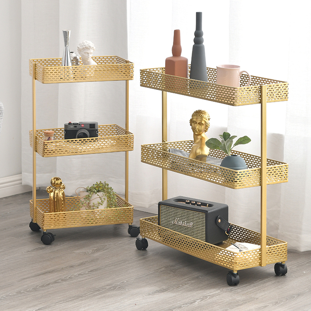 Nordique à roulettes coin table chariot plancher-debout salon chambre chevet multi-couche coin table rouleau support mobile