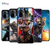 Marvel Avengers Super Hero Groot dla Xiaomi Redmi Note 10S 10 9T 9S 9 8T 8 7S 7 6 5A 5 Pro Max TPU silikonowy czarny futerał na telefon