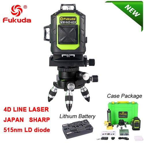 Фукуда бренд 12 линии 3D MW-93T лазерный уровень наливные 360 горизонтальный и вертикальный крест супер мощный зеленый лазер луч линии FUKUDA - Цвет: 93D-Green-Li-4GX