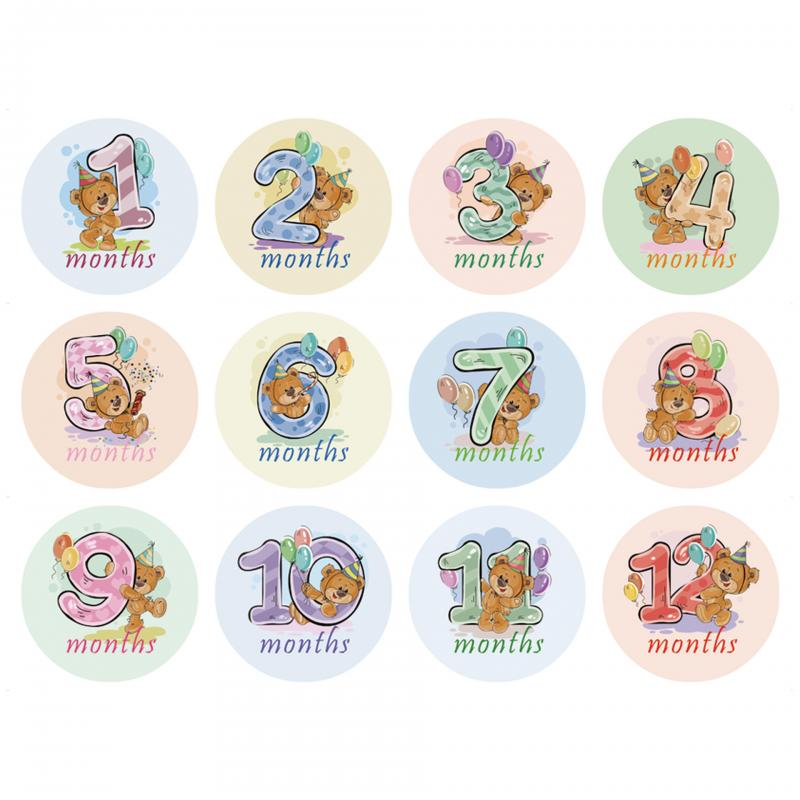 12pcs/set Month Sticker Newborn Kids Commemorative Card Baby Photography Milestone Memorial Monthly Number Photo Props