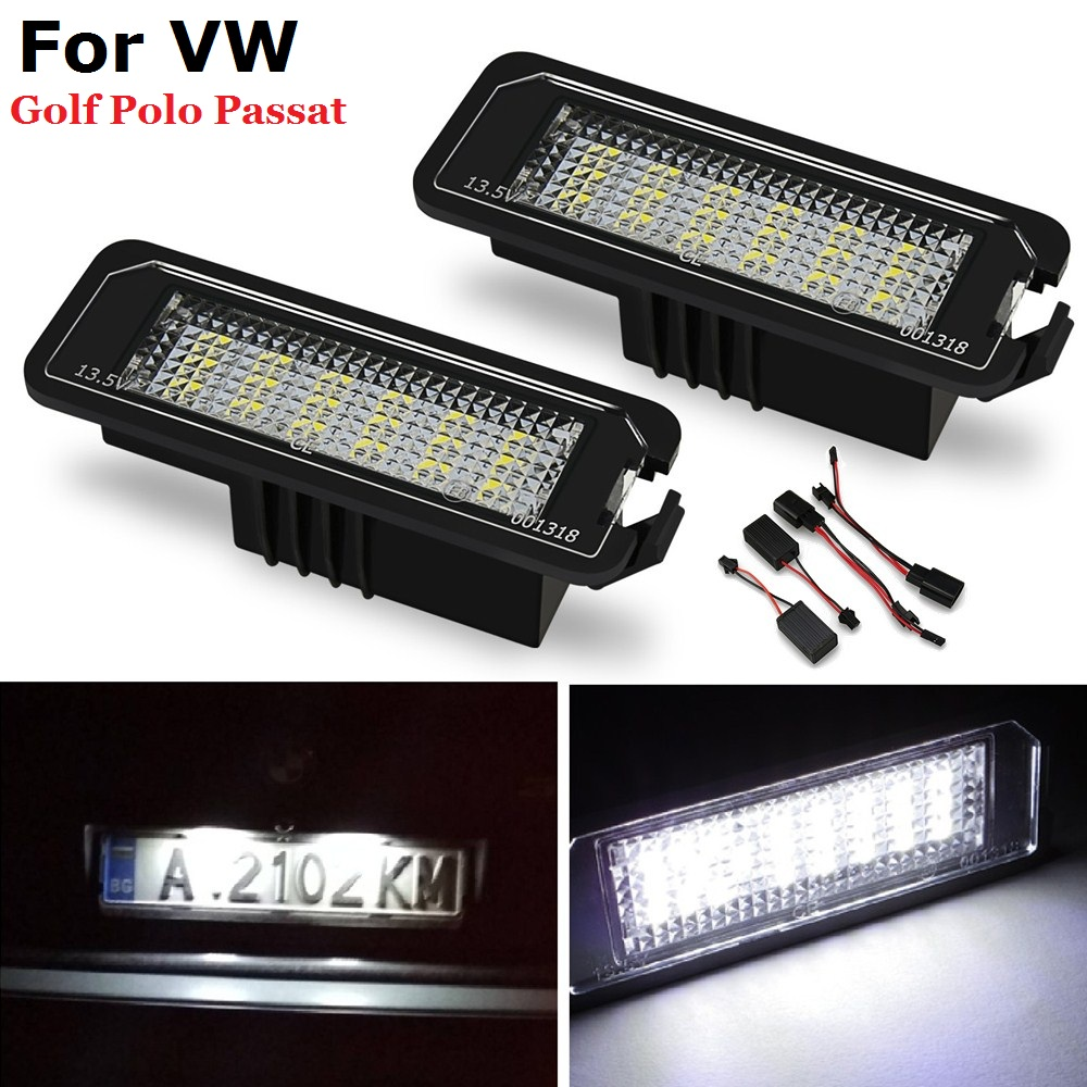 2PCS LED License Number Plate Light No Error For VW Golf MK4 MK5 MK6 Passat 4D Sedan  Polo CC Eos Scirocco License Plate Lamps