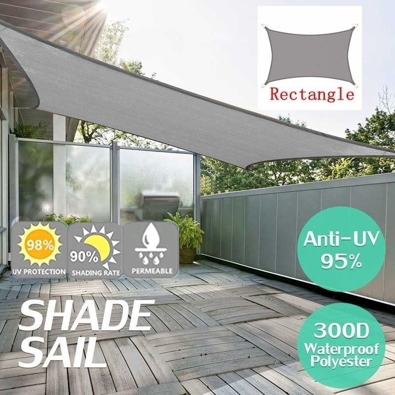 300D Waterproof Polyester Square Rectangle Shade Sail Garden Terrace Canopy Swimming Sun Shade Camping Hiking Yard Sail Awning