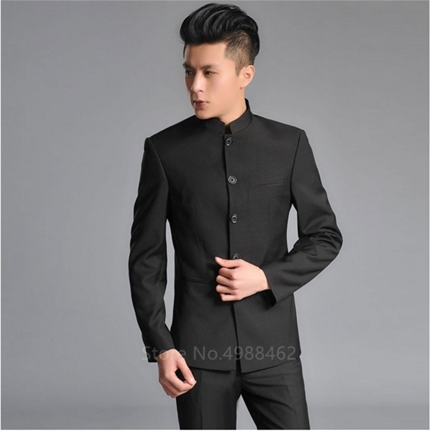 Traditional Chinese Style Man Clothing Set Student Performance Costume Thin Stand Collar Graduate Class Wear Wedding Clothes