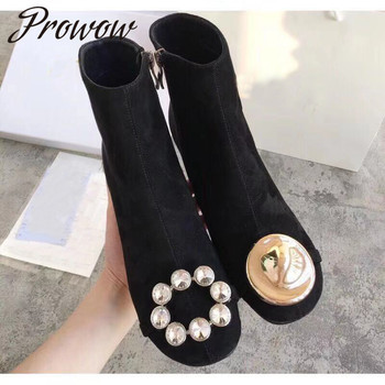 цена на Prowow New Black Genuine Leather Round Toe Zip Side Ankle Boots Round Heel HIgh Heel Boots Autumn Winter Fashion Women Boots