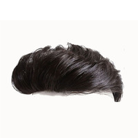 Allaosify 6 Topper Toupee Hairpiece Clip In One Piece Hair Extension Synthetic Hair with Bangs for Men Natural Black Airpalne