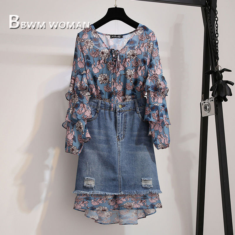 2019 Floral Print Women Sets Autumn Long Sleeve Blouse And Denim Skirts Female Sets