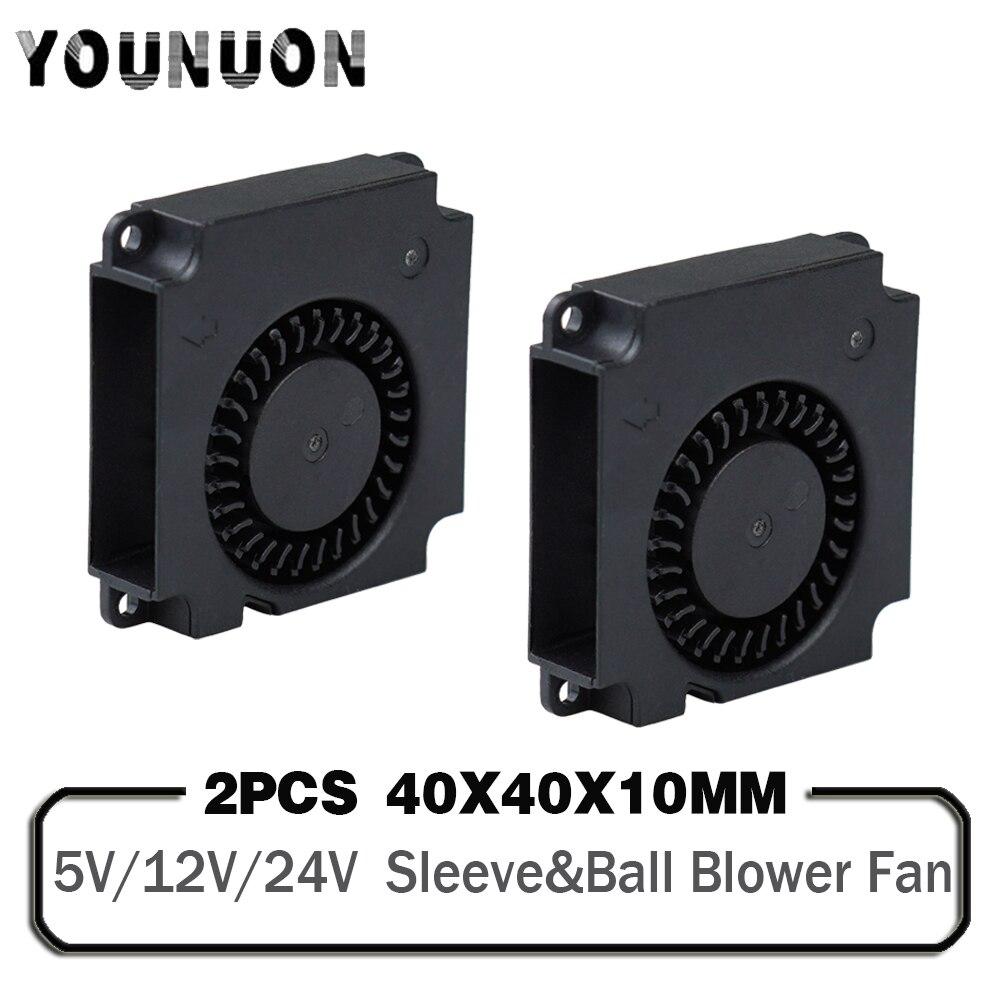 2 шт., вентилятор для 3D-принтера 40 мм, 12 В 24 в 5 В 4010, охлаждающие аксессуары для принтера, турбо-вентилятор постоянного тока, Радиальные Вентил...