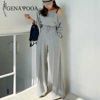 Genayooa Tuta Donne casual Primavera 2 Pezzo del Vestito Delle Donne di Stile Coreano A Due Pezzi Set Top E Pantaloni Off Spalla Magliette e camicette abiti 2020
