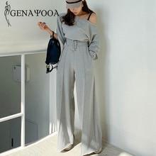Genayooa agasalho feminino casual primavera 2 peça terno feminino estilo coreano duas peças conjunto de topo e calças fora do ombro topos ternos 2020