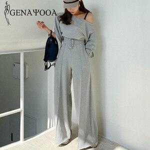 Image 1 - Женский спортивный костюм genayoa, повседневный Весенний костюм из 2 предметов, комплект из двух предметов в Корейском стиле, топ и штаны, топы с открытыми плечами, костюмы 2020
