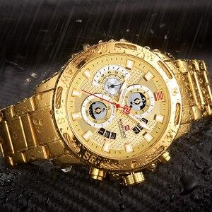 Image 4 - NAVIFORCE Luxury Brand Mens Sport Watches Gold Full Steel Quartz Watch Men Date Week Waterproof Military Clock Relogio Masculino