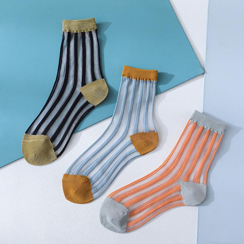 2020 Spring Women Socks Striped Long Socks Thin Transparent Korean Style Color Fashion Girl Summer Socks Female High Quality