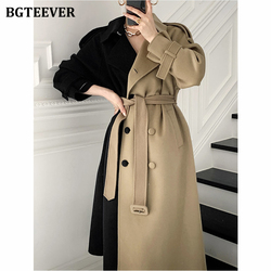 BGTEEVER Vintage Turn-down Collar Women Patchwork Blend Coats 2020 Thick Long Double Breasted Belted Winter Overcoat Female