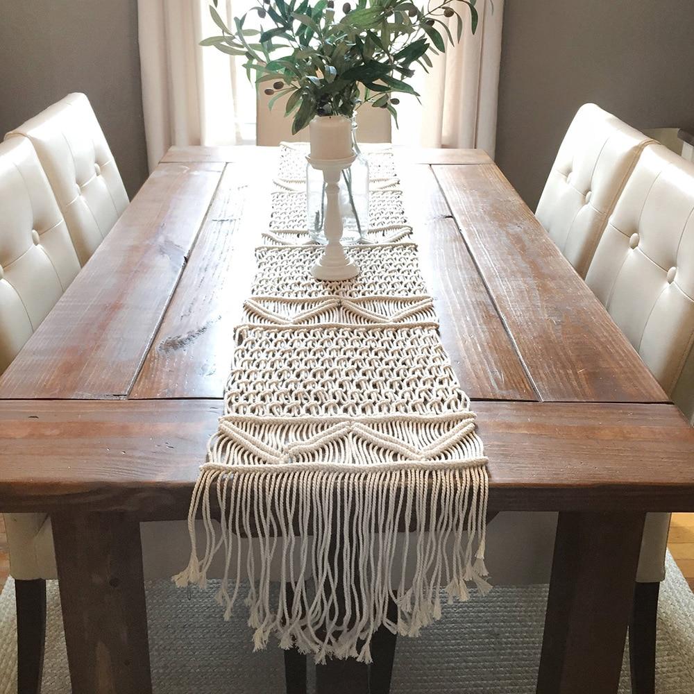 Macrame Table Runner Cotton Knitted Dining Table Decoration Tafelloper Boho Nordic Handmade Centerpiece Wedding Decor T26 Table Runners Aliexpress