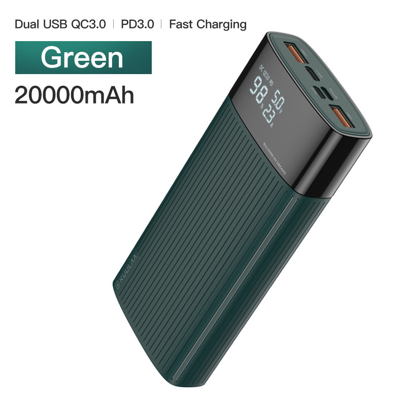 KUULAA power Bank 20000 mAh usb type C PD Быстрая зарядка+ Quick Charge 3,0 power Bank 20000 mAh Внешняя батарея для Xiaomi iPhone - Цвет: Green
