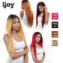 4X13 Lace Front Human Hair Wigs Ombre Straight Lace Wig Honey Blonde Brazilian Hair Wig For Women Pre Plucked Wig Non Remy IJOY