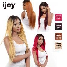 4X13 koronki przodu włosów ludzkich peruk Ombre koronkowa peruka z prostymi włosami miód blond brazylijska peruka dla kobiet wstępnie oskubane peruka nie Remy IJOY