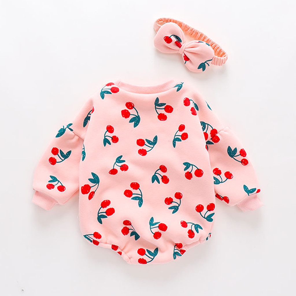 ChicLadies Baby Newborn Girls Jumpsuit Short Sleeve Infant Bodysuit Outfits Cotton Fruit Print Cute