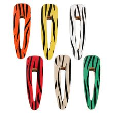 Vintage Zebra Stripes Faux Leather Hair Clip Women Geometric Water Drop Duckbill Hairgrip Side Bangs Decorative Hair Accessories стоимость