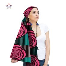 BRW 2020 African Ankara Head Wraps For Women African Ankara Scarves African Wax Print Clothing Fabric Head Bands Versatile WYX29