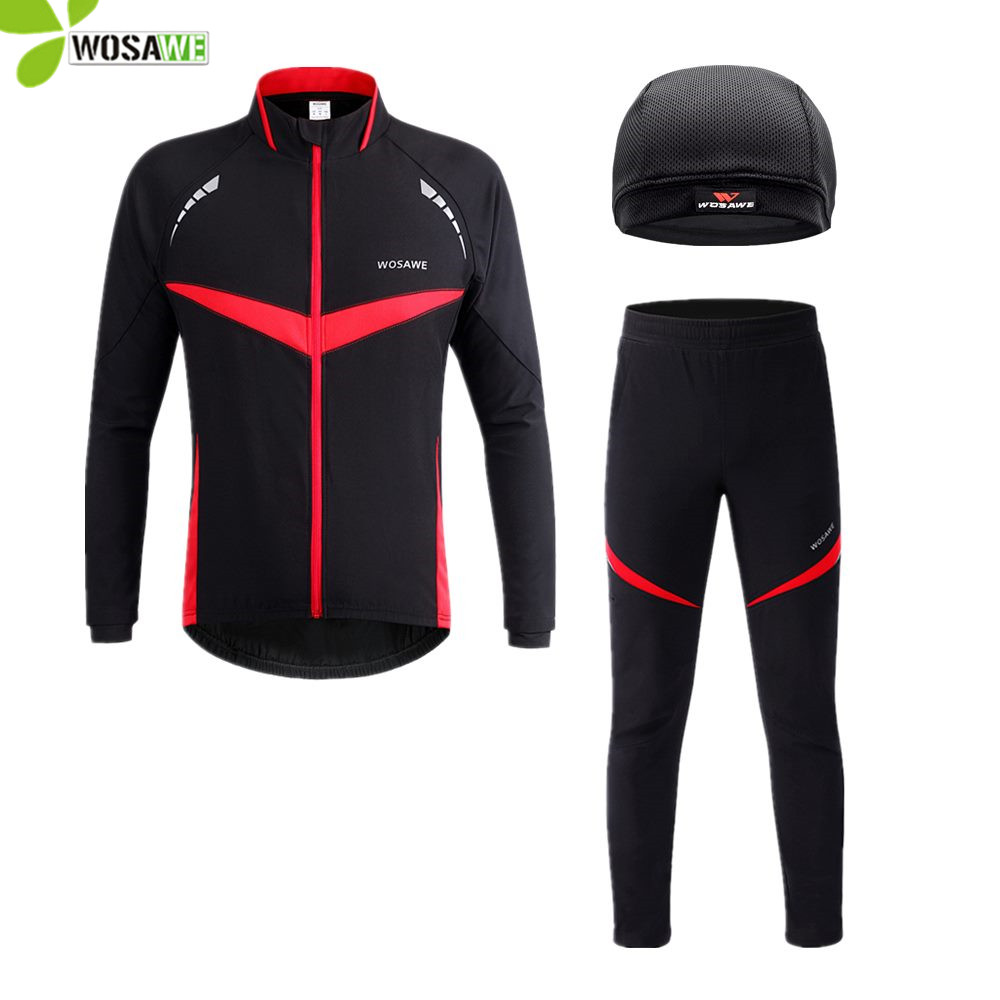 WOSAWE Winter Cycling Jackets Set Men Water Repellent MTB Bike Wear Uniform Bicycle Kits Sports Cycle Clothing Riding Suits