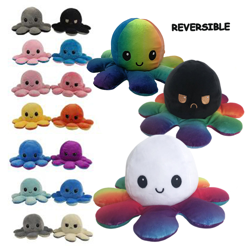 2020 new reversible octopus plush toy gifts for boys and girls