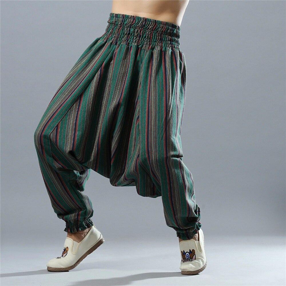 Men Fashion Stripe Linen Pants India Nepal Pattern Cotton Linen Trousers Men Soft Natural Flax Pants Elastic Waist Striped Pants