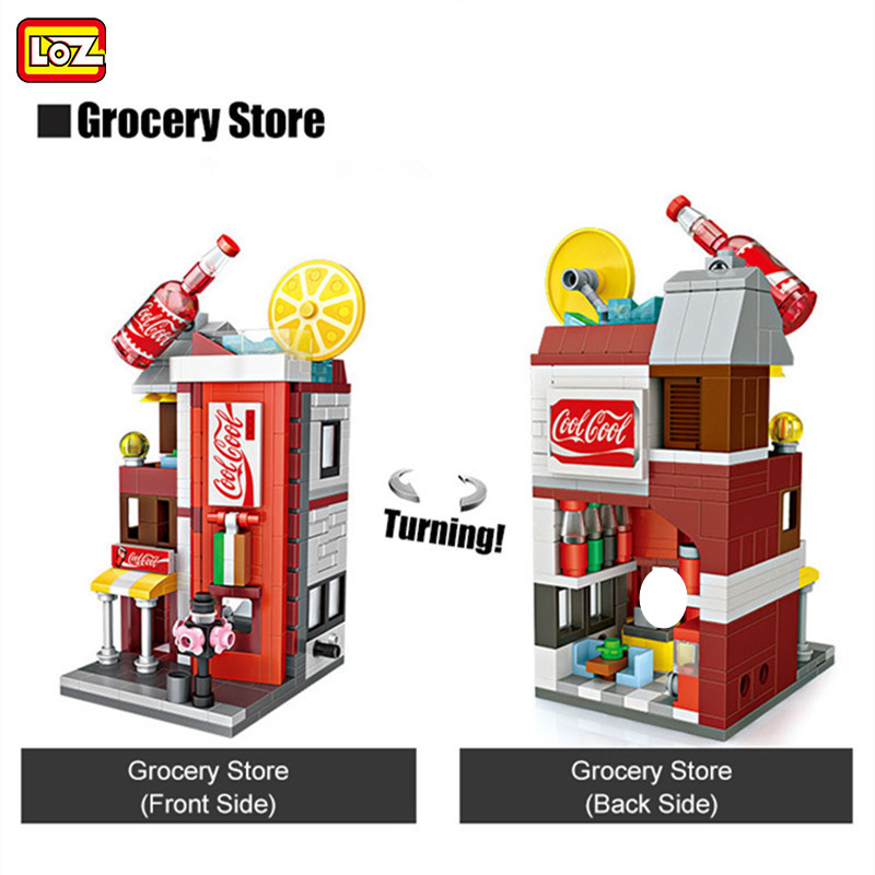 LOZ City Street View 334PCS 3D <font><b>Grocery</b></font> <font><b>Store</b></font> Architecture Classic Mini Building Blocks Girls Gifts For Children Educational <font><b>Toy</b></font> image
