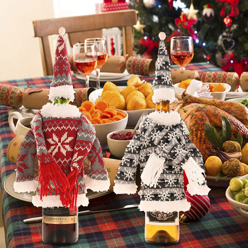 Christmas Wine Bottle Sweater Cover Holiday Wine Bottle Cover Linen Bottle Cover For Christmas Decorations