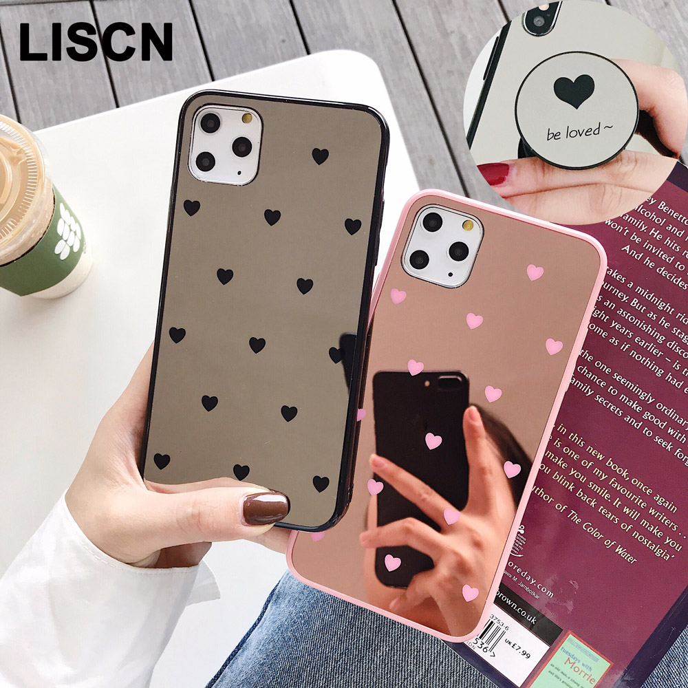 Splice Mirror Phone <font><b>Case</b></font> For <font><b>iPhone</b></font> 11 Pro Max xr x xs 8 7 <font><b>6</b></font> Plus Soft TPU <font><b>Case</b></font> Black Pink <font><b>Bumper</b></font> Coque For <font><b>iPhone</b></font> 11 Love Cover image