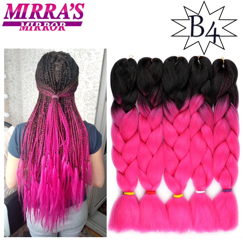 Mirra's Mirror 24inch Jumbo Braids Pink Purple Ombre Braidng Hair 2 Tone Synthetic Crochet Hair Extension