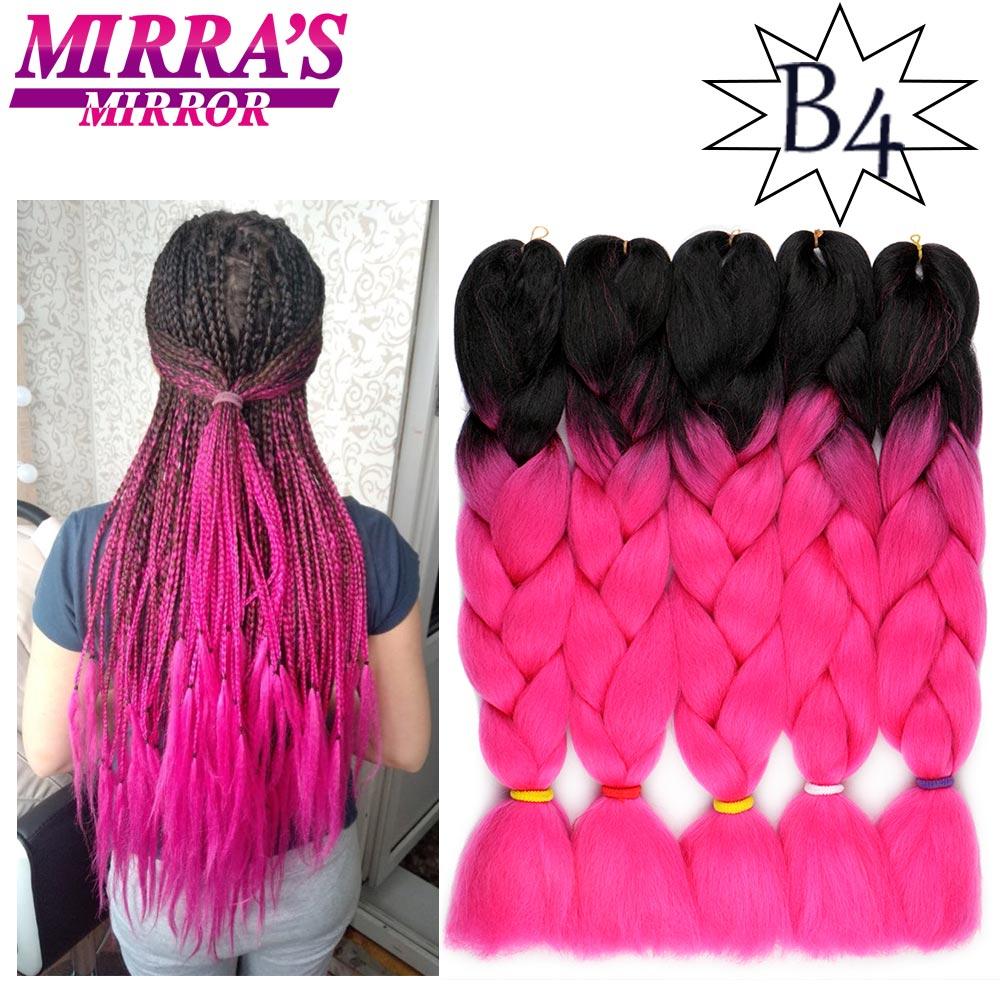 Mirra's Mirror 24inch Jumbo Braids Pink PurpleOmbre Braidng Hair 2 Tone Synthetic Crochet Hair Extension