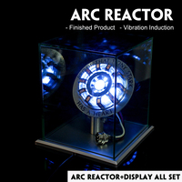 Upgraded Version 1:1 Arc Reactor Model Kit Vibration Induction LED Chest Light USB Powered Movie Props MK1/MK2 With Display box