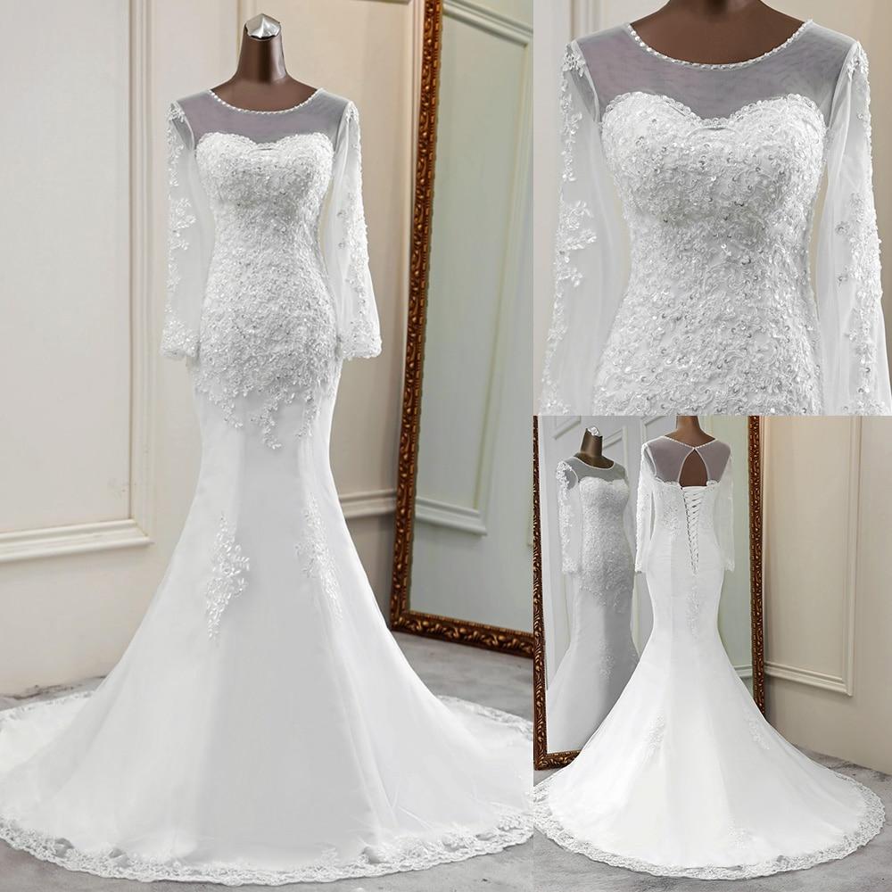 2020 New Style Wedding Dress Long Sleeve Bride Dress Transparent Wedding Gowns Mermaid Vestido De Noiva Lace Long Tulle Marriage Wedding Dresses Aliexpress