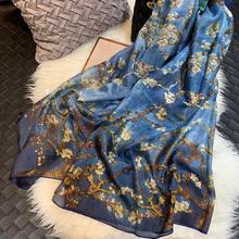 [BYSIFA] Ultralarge Spring Autumn Silk Scarf Wraps Brand Female Long Scarf Cape Fashion New Design Lace Pattern Blue Silk Scarf
