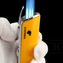 Cigar-Lighter Flame-Torch Pocket COHIBA Mini Windproof Metal Blue with No-Gift-Box 3-Jet
