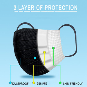 Image 3 - Disposable Black Face Mask Protective Masks Anti Dust Particles for Work Outdoor Non woven Fabric Earloop Mouth Masks Reusable