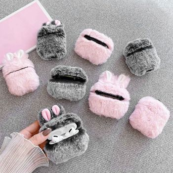 Soft Rabbit Ear Fur Case for Apple AirPods 1 2 Wireless Charging Fluffy Box with Carabiner Plush Cover for Airpods Pro Case Capa 1