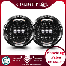 שיתוף אור 7 אינץ LED פנס 180W זווית העין DRL הפעל Singal 12V 24V Hi/Lo עבור ג יפ רנגלר לאדה ניבה 4x4 Offroad נהיגה אורות