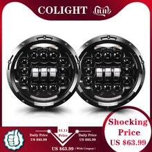 CO LICHT 7inch LED Scheinwerfer 180W Winkel Auge DRL Schalten Singal 12V 24V Hallo/Lo für Jeep Wrangler Lada Niva 4x4 Offroad Fahren Lichter